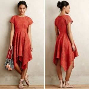 Anthro MAEVE Prima Lace Crochet Hanky Hem Dress